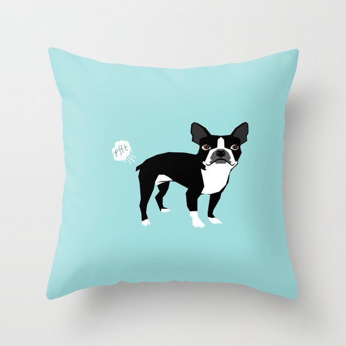 Boston Terrier funny fart dog pure breed gifts dog lovers Throw Pillow