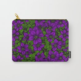 Purple Clematis vine Carry-All Pouch
