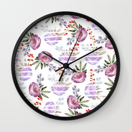 Modern white stripes pink lavender watercolor floral Wall Clock