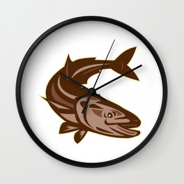 Cobia Fish Diving Down Retro Wall Clock