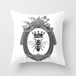 Queen Bee   Vintage Bee with Crown   Black, White and Grey   Throw Pillow