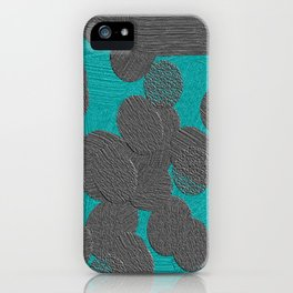 gray and turquoise dots iPhone Case