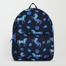 Neon blue -out of a dream- horses Backpack