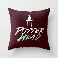 potter Throw Pillows featuring Potter Head by alboradas