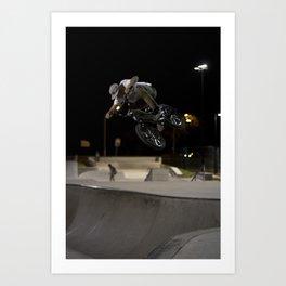BMX skatepark night  Art Print