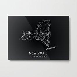 New York State Road Map Metal Print