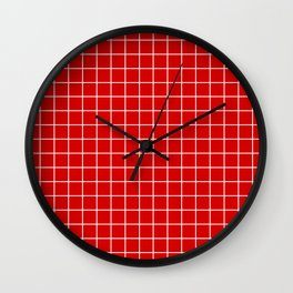 Rosso corsa - red color - White Lines Grid Pattern Wall Clock