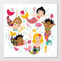 mermaids Canvas Prints featuring Mermaids by Helene Michau