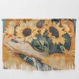 Holding Sunflowers #society6 #illustration #nature #painting Wall Hanging