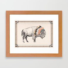 White Bison Framed Art Print