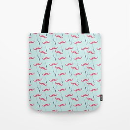 Vintage blue red funny mustache pattern Tote Bag