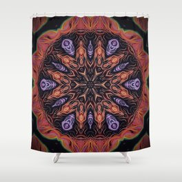 Fire Within // Vibrant Geometric Abstract Visionary Art Digital Painted Magical Red Orange Shower Curtain