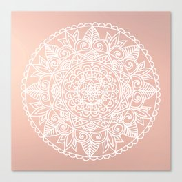 White Mandala on Rose Gold Canvas Print