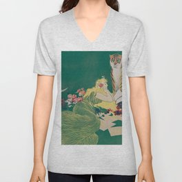 Fantasy Art Deco Woman With Pet Tiger Self culture (edited) - The Werner Company - 1890-1900 Unisex V-Neck