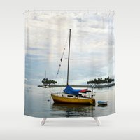 sailboat Shower Curtains featuring Sailboat Rainbow by kelly*n photography