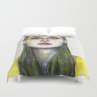 yellow Duvet Covers featuring yellow lemongrass by agnes-cecile