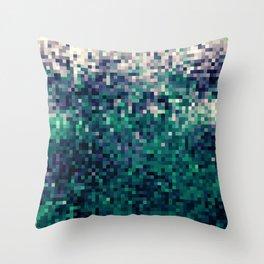 Indigo Green Pixel Ombre Throw Pillow