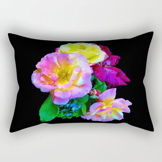 Rosa Yellow Roses on Black Rectangular Pillow