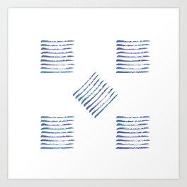 Rough stripes in blues Art Print