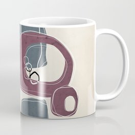 Retro Abstract Design in Mulberry and Peninsula Blue Coffee Mug