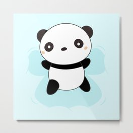 Kawaii Panda Snow Angel Metal Print
