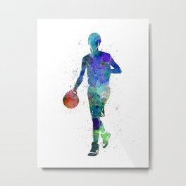 one young man basketball player dribbling silhouette in studio isolated on white background Metal Print
