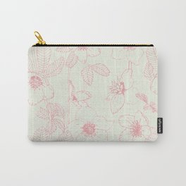 Hellebore Pink Line Art on White Carry-All Pouch