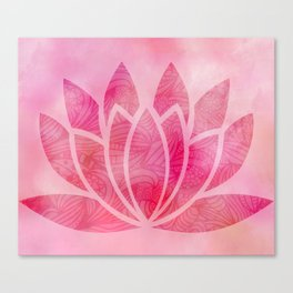 Zen Watercolor Lotus Flower Yoga Symbol Canvas Print
