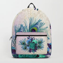 Peacock Feather Flowers Backpack
