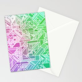Bright Gradient (Violet Purple Lime Green Neon Yellow) Geometric Pattern Print Stationery Cards