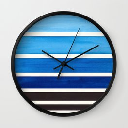 Blue Minimalist Mid Century Modern Color Fields Ombre Watercolor Staggered Squares Wall Clock