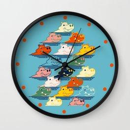 Happy Hippo Family Wall Clock