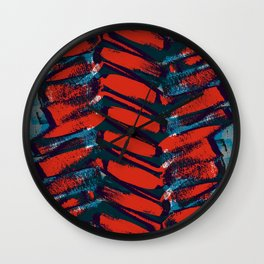 Red and Blue brushstrokes - Sarah Bagshaw Wall Clock