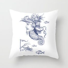 Sea Posse I - Warrior, Navy Print Throw Pillow
