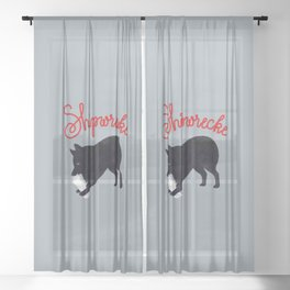 Shipwrecke (Gray and Red) Sheer Curtain