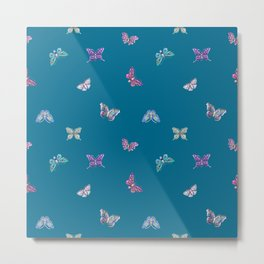 Christmas jeweled butterflies on teal, butterfly, jewels, precious, butterflies, new year, t Metal Print