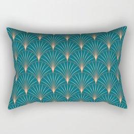 Vintage Art Deco Floral Copper & Teal Rectangular Pillow
