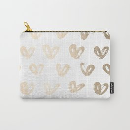 Luxe Gold Hearts on White Carry-All Pouch