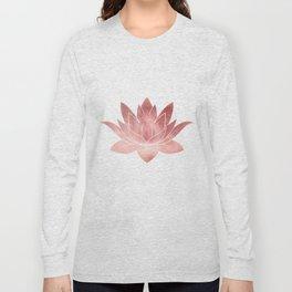 Pink Lotus Flower | Watercolor Texture Long Sleeve T-shirt