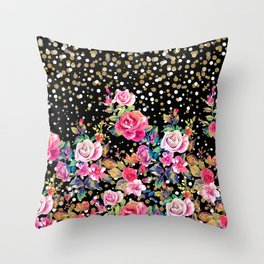 Modern watercolor spring floral and gold dots pattern Throw Pillow