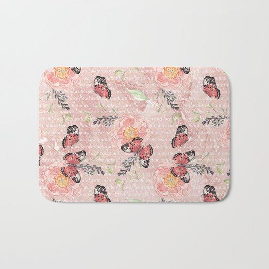 Flowers & butterflies #1 Bath Mat
