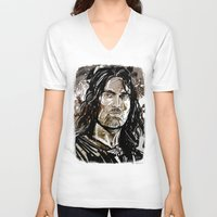 gondor V-neck T-shirts featuring Aragorn by Patrick Scullin
