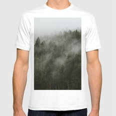 Pacific Northwest Foggy Forest Mens Fitted Tee White MEDIUM