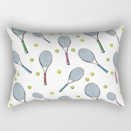 Tennis pattern. Hand-drawn colored sketch style tennis racquet with yellow tennis balls on white bac Rectangular Pillow
