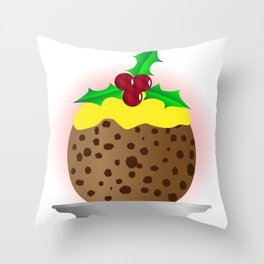 Christmas Pudding With Custard And Holly Sprig Throw Pillow
