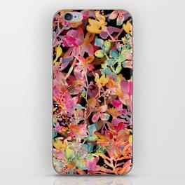 watercolor meadow black iPhone Skin