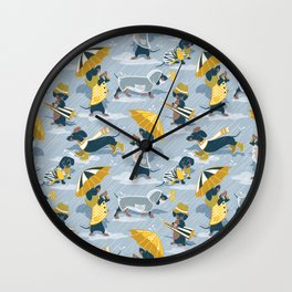 Ready For a Rainy Walk // pastel blue background dachshunds dogs with yellow and transparent rain co Wall Clock