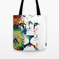 nfl Tote Bags featuring Colorful Lion Art By Sharon Cummings by Sharon Cummings