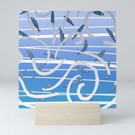 Dance in the blue Mini Art Print
