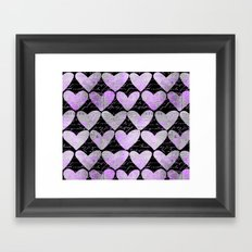 pink heart typography pattern Framed Art Print